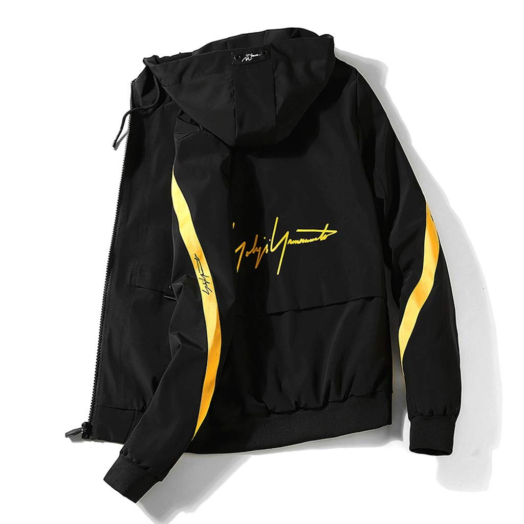 KingWo Mens Solid Color Loose Outdoors Jacket Zipper Hoodie Running Sports Training Fitness Jacket Coat