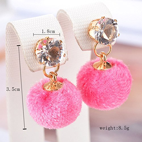 Wansan Pink Hairball Tassel Earrings Bohemian Ethnic Dangle Hanging Rope Tassel Stud Earrings for Women Girls