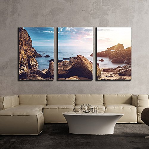Seashore with Rock Stones under the Sunset x3 Panels