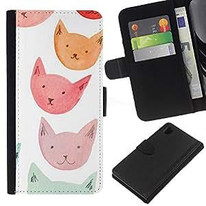 A-type (Orange Red Blue Cat Faces) Colorida Impresión Funda Cuero Monedero Caja Bolsa Cubierta Caja Piel Card Slots Para Sony Xperia Z1 L39