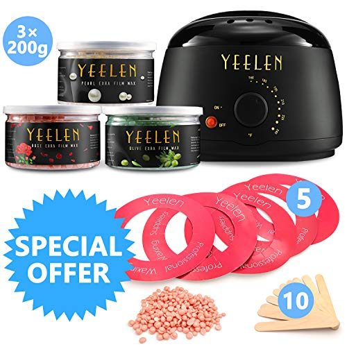 Yeelen Wax Warmer Hair Removal Waxing Kit Wax Melts with 3 Hard Wax Beans(21.16oz) and 10 Wax Applicator Sticks for All Body, Face, Bikini Area, Legs At Home Waxing