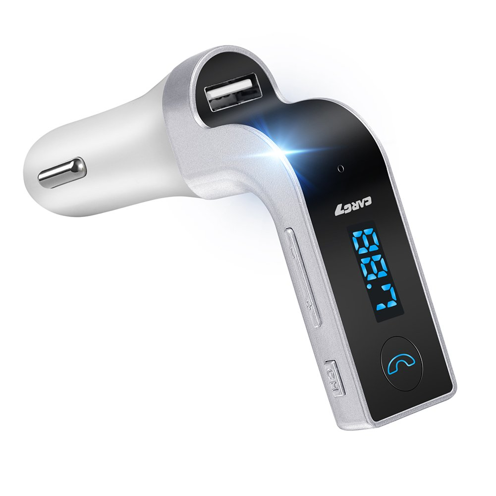 FM Transmitter, EIISON Wireless Bluetooth FM Transmitter Car Kit In-Car FM Adapter Car Kit with USB Car Charging for iPhone, Samsung, LG, HTC, Nexus, Motorola, Sony Android Smartphone, Silver