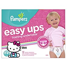 Pampers Easy Ups Training Underwear for Girls, Size 5 (3T-4T), Super Pack, 72 Count