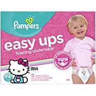 Pampers Easy Ups Training Pants Pull On Disposable Diapers for Girls Size 5 (3T-4T), 72 Count, SUPER
