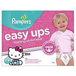 Pampers Easy Ups Training Underwear Girls 3T-4T (Size 5), 72 Count -- Packaging May Vary