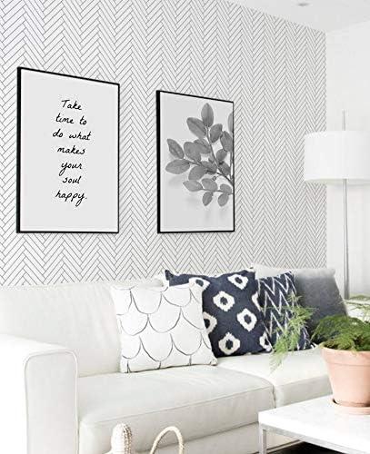 Fleefilo はがせる壁紙 壁紙シール 黒 白い ヘリンボーン 柄 壁 シール リメイクシート DIY FL2064 (FL2064, 45cm x 10m)