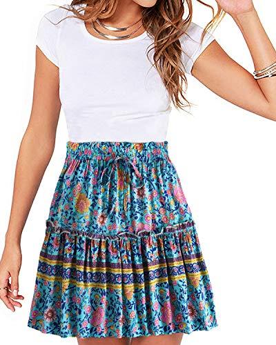 - YOINS Women's Suspender Skirts Basic High Waist Versatile Flared Skater Skirt D-Floral Blue S