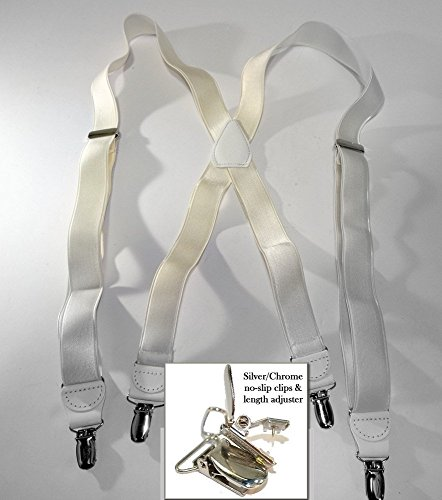 Hold-Ups X-back 1'' W. Suspenders Satin Finish White, Pat. No-slip Silver Clips by Hold-Up Suspender Co. (Image #1)