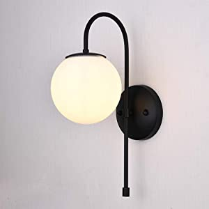 CASILVON Black Wall Sconce, Modern Bedside Led Globe Frosted Glass Wall Lamp, Wall Mounted Light Fixture for Living Room Home Decor Bathroom Bedroom Hallway