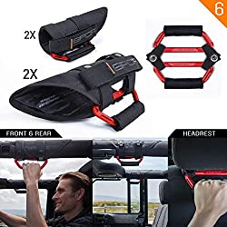 "GPCA GP-Grip PRO Grab Handle for Jeep Wrangler JL JT JK Sport Sahara Rubicon Gladiator 4DR/ 2DR 2007-2020 w/ 3"" roll bar. Universal to Driver and passenger's Sides (4 + 2 Pack, Firecracker Red)"