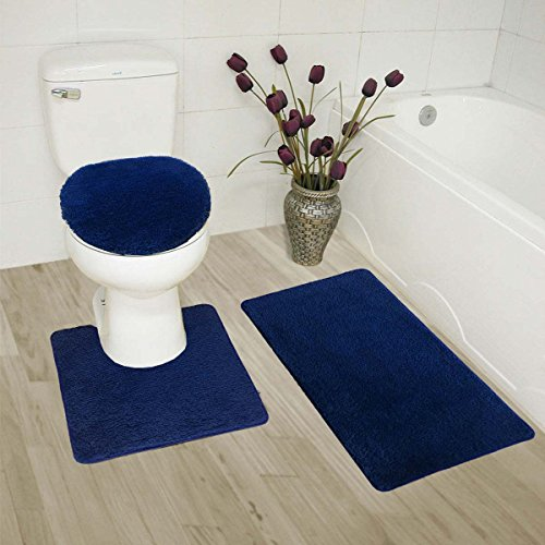 Luxury Home Collection 3 Piece Bath Rug Solid Set Non-Slip Bathroom Rug Contour, Mat and Toilet Lid Cover Navy ()