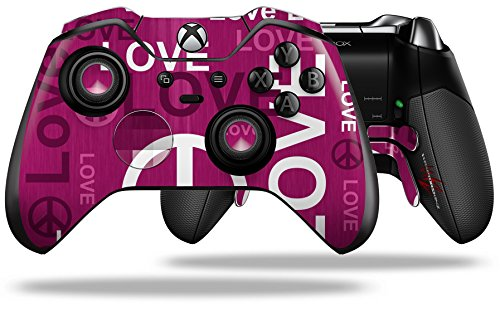 Love and Peace Hot Pink - Decal Style Skin fits Microsoft XBOX One ELITE Wireless Controller (CONTROLLER NOT INCLUDED)
