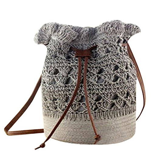 Crochet Hobo Bag - Donalworld Women Bucket Bag Drawstring Hobo Crochet Straw Shoulder Bag L Pt4