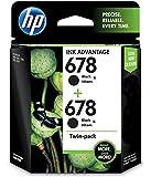 hp ink cartridge 678 black twin pack
