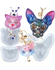 Cat Head Charms Silicone Resin Moulds Set Sphynx, 3 Eyes, Horns Kitten 3-Count