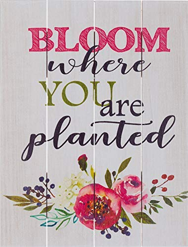 (Rustic Pallet Art Inspirational Bloom Where You are Planted Wooden Wall Hanging, 16
