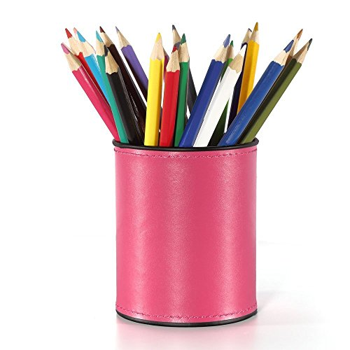 Qingsun Round Pens Pencils Makeup Brush Cosmetic Beauty Products Holder Pu Leather Multi-Function Desk Stationery…