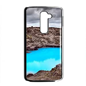 Personalized protective cell phone case for LG G2,glam blue lake design
