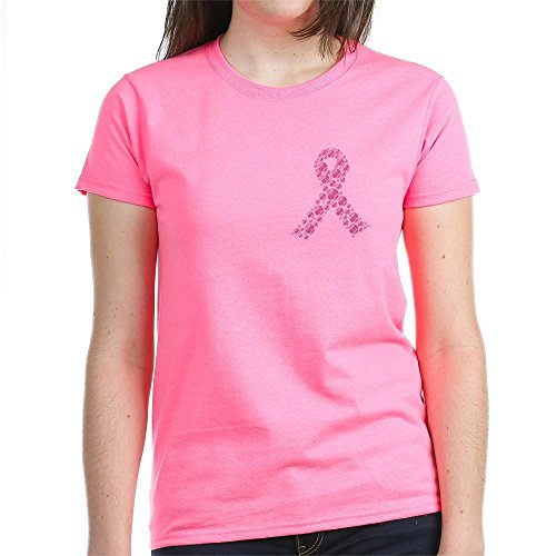 CafePress Pink Baseball Ribbon T-Shirt - Womens Cotton (Pink Ribbon Baseball Tee)