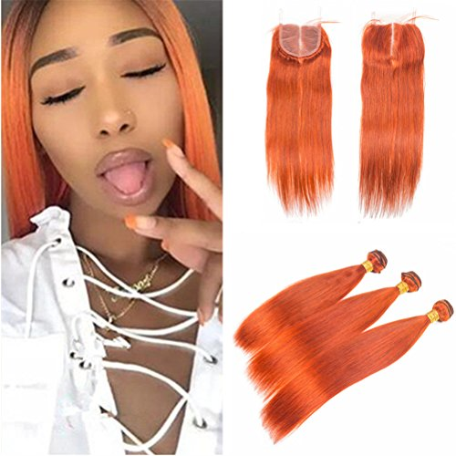 Orange Bundle - Zara Hair Orange Bundles with Closure Silky Straight Burnt Orange Color Human Hair Weaves with Lace Closure 4X4 Middle Part Brazilian Virgin Hair Extensions (10 with 12 12 12)