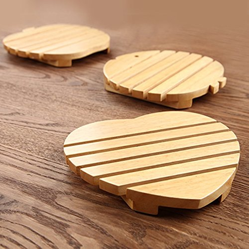 (2pcs/lot Japanese style wooden coaster cute round placemats kitchen accessories tableware)