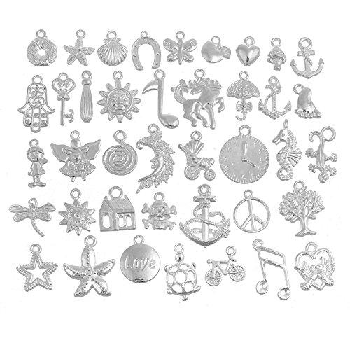 RUBYCA 160Pcs Wholesale Lot Tibetan Mix Pendant Charm White Silver Plated Metal Jewelry Making Mix6 from RUBYCA