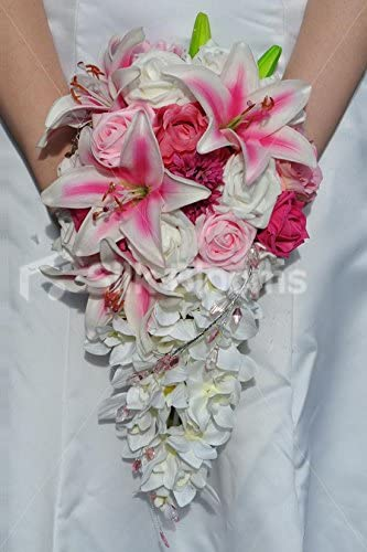 Amazon Com Artificial Pink Oriental Lily And Rose Cascading