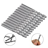 "12 pcs 1/8"" Carbide Flat Nose End Mill, AFUNTA 3.175mm 17mm CNC Router Bits Double Flute Upcut Spiral Set Tool for Nylon Resin ABS Acrylic PVC MDF Hardwood"