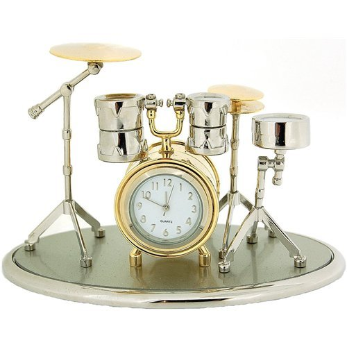 Miniature Drum Kit Novelty Silver & Gold Tone Finish Collectors Clock 0470