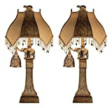 Ashley Furniture Signature Design - Elephant Theme Table Lamp With Nightlight - Set of 2 - Bronze Finish