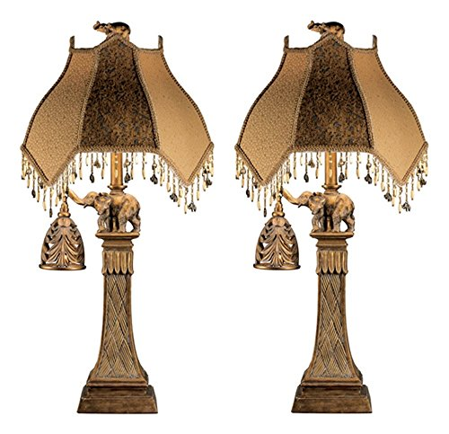 Ashley Furniture Signature Design - Elephant Theme Table Lamp With Nightlight - Set of 2 - Bronze - Elephant Design India