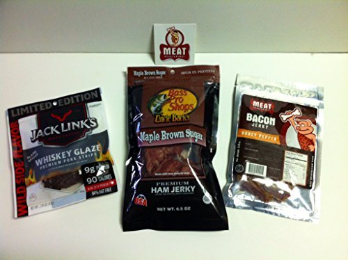Beef Jerky Sampler 3 Pack- Uncle Buck's Maple Brown Sugar Premium Ham Jerky (6.5 ounces), Meat Maniac Honey Pepper Bacon Jerky (2 ounces) & Jack Link's Whiskey Glaze Pork Jerky Strips (2.85 ounces)