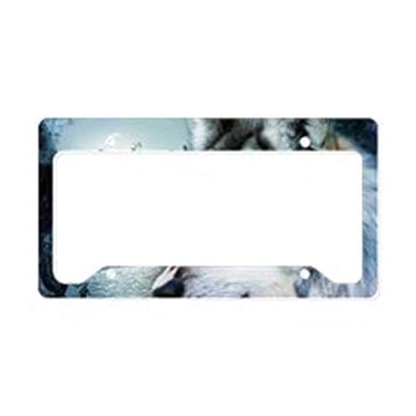 CafePress – Romántica Luna Wild Wolf – Marco de aluminio y placa de licencia, etiqueta