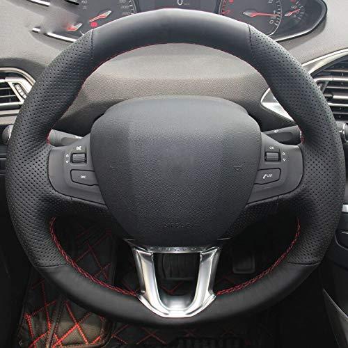 KDKDKLMB steering wheel cover Black Artificial leather Car Steering Wheel Cover,for Peugeot 2008,for Peugeot 208-Blue thread: