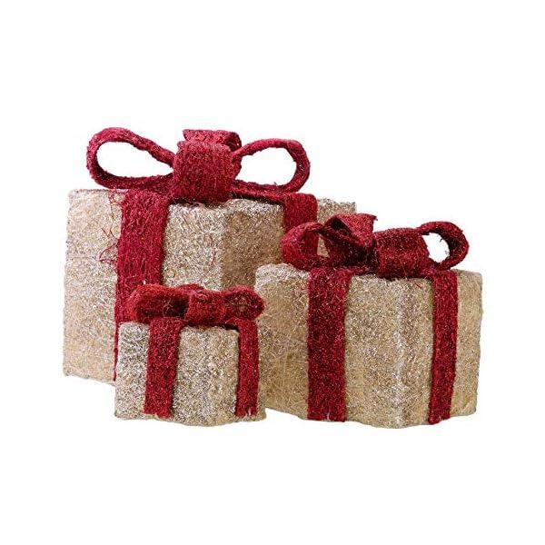 Bambelaa! Led Decorazione Light Gift Boxes - Set di 3 incl. Funzione Timer - Decorazione natalizia Decorazione natalizia Decorazione di Natale Illuminazione (Giallo) 4 spesavip