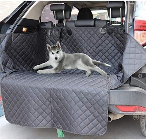 犬のカーシートカバー、防水アンチ汚いオートトランクシートマット、安全ベルト、トランク防水マットでペットキャリアプロテクターハンモッククッション 車の後部トランク収納マット (Color : Black)