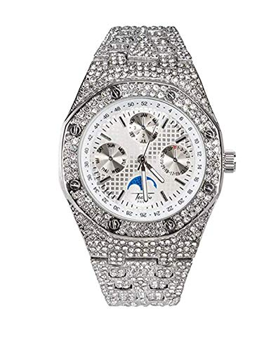e1b80573416f9 Chronograph Bust Down AP Watch Supreme Necklace Rapper Bling Rollex Skelton  Iced Out Hip Hop Watch