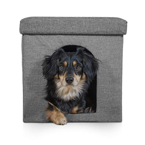 Furhaven Pet Footstool Pet House, Stormy Gray, Small