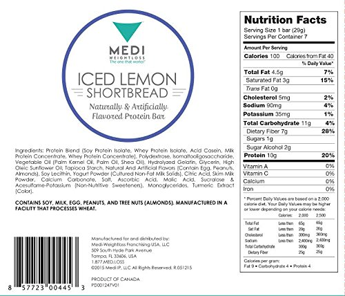 Medi-Weightloss Iced Lemon Shortbread Protein Bars - High Protein (10g) - 100 Calories - For Hunger Control During Diet/Weight Loss - 7 Bars Per Box by Medi-Weightloss