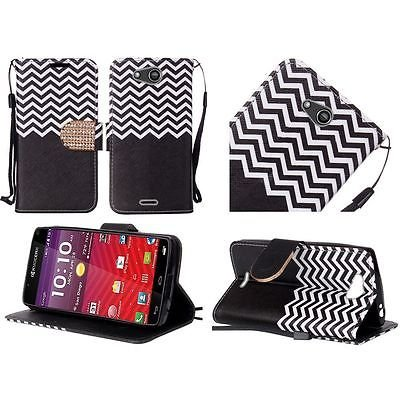 For Kyocera Hydro Wave Air PU Leather Bling Flip Design Wallet - Black Chevron -  EpicDealz