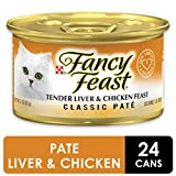 Purina Fancy Feast Grain Free Pate Wet Cat Food, Tender Liver & Chicken Feast - (24) 3 oz. Cans