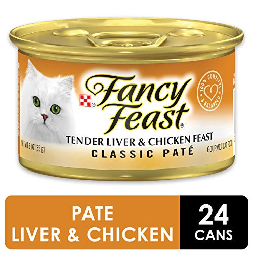 Purina Fancy Feast Grain Free Pate Wet Cat Food, Tender Liver & Chicken Feast – (24) 3 oz. Cans