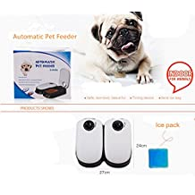 Auto Pet feeder 2 Meal Automatic Timer Control Dogs Cats Feeder with Ice pack