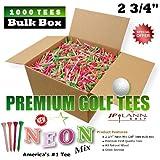 "1000 Piece 2 3/4"" Golf Tees Bulk Box - NEON - (PREMIUM First Quality Natural Wood Tees)"