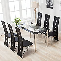 4 Family 7 Piece Dining Set Glass Table /6 Leather Chairs Kitchen Furniture,Black