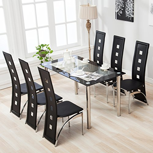 Mecor 5 Piece 7 Piece Glass Dining Table Set With Leather Chairs