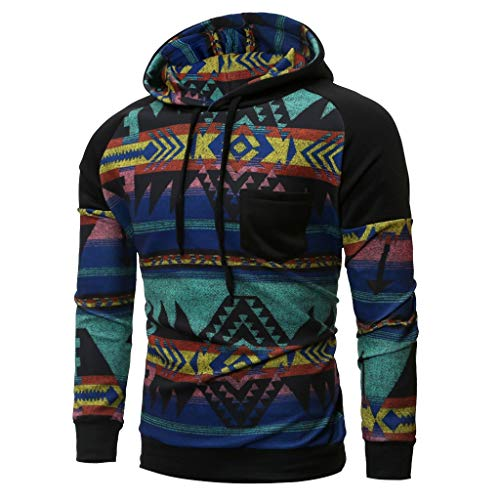 ANJUNIE Men Spring Winter Long Sleeve Hooded Sweatshirt Printed Tops Slim Pullover(Black,XL)