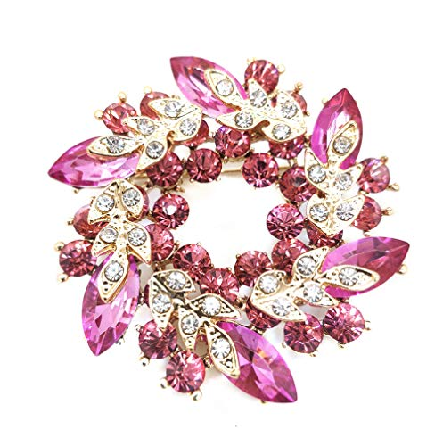Ahugehome Women Brooch Pin Rose Flower Camellia Inlay Crystal Vintage Style Dress Party Wedding (C Flower Gold Rose red)
