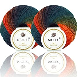 2 Skeins Rainbow Soft Yarn 100% Wool Gradient Multi Color Yarn for Crocheting Knit Total Length 180m×2(196yds×2,50g×2)-10