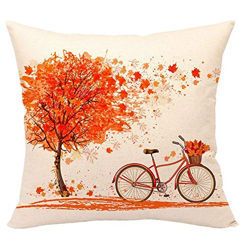 Newkelly Happy Autumn Tree Maple Leaf Bicycle Pillow Cover ()